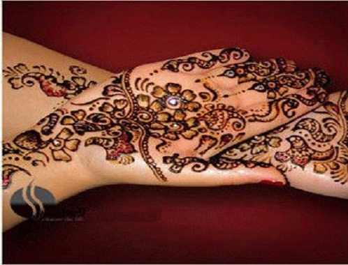 Shaded Floral Bengali Mehndi Design