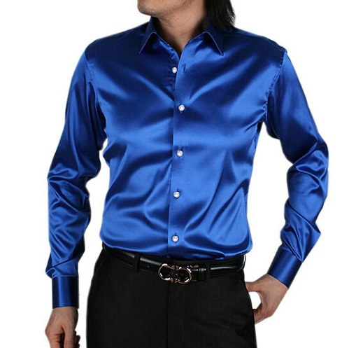 Shiny Blue Party Wear Shirt