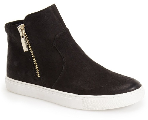Side Zipper Black Sneakers for Women