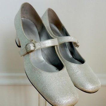Silver French heels