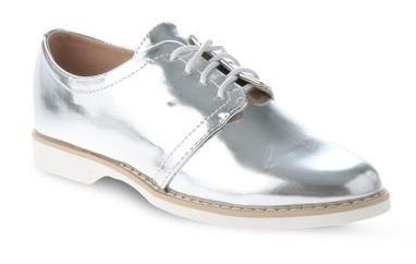 Silver Lace-up men Shoes