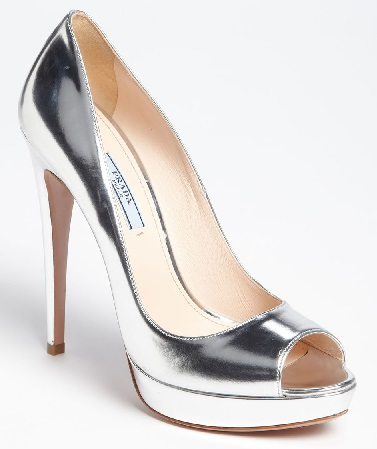 Silver Peep Toes women Shoes