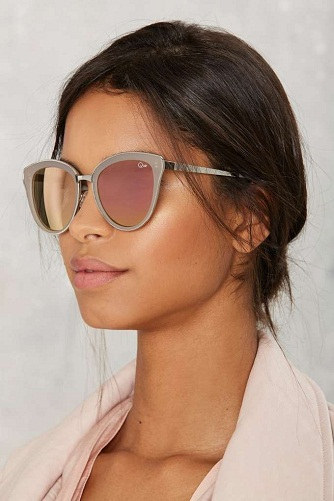 Silver pink mirror lens sunglasses