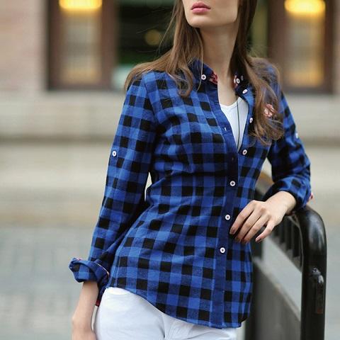 Skinny inner plaid shirt