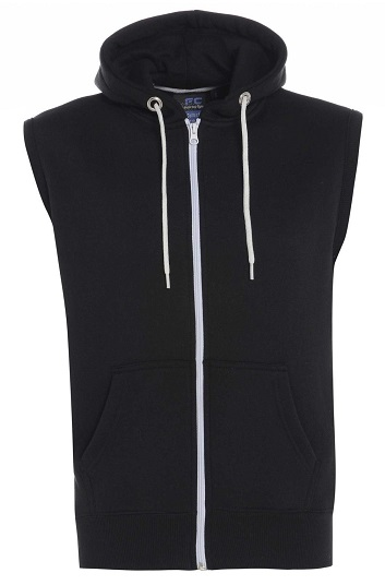 Sleeveless Black Men´s Zip-Up Sweatshirt with Hoodie