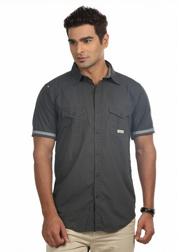 Slim fit Grey shirt for men