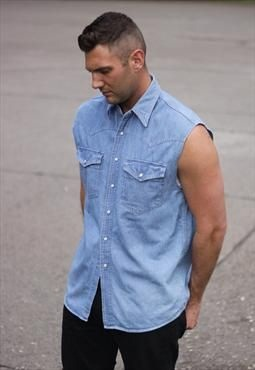 Smart Denim Sleeveless Shirts for Men