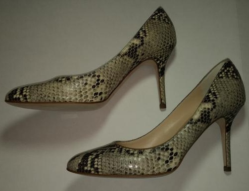 Snake Print Brown and Cream Heels