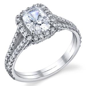 Split Shank Cushion Cut engagement ring
