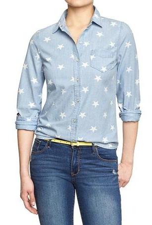 Star Printed Jean Designer Shirt