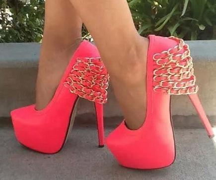 Stiletto heels peep toes neon pink shoes
