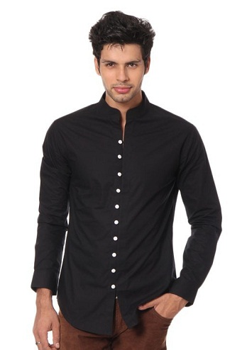 Straight Collar Black Shirt