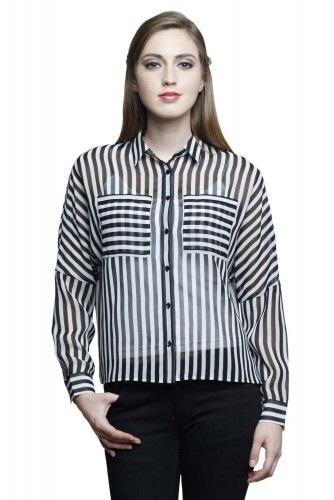 Striped Sheer Women Party Shirt