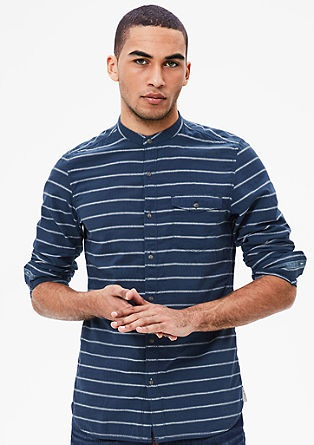 Stripped Designer Shirt with Stand-up Collar