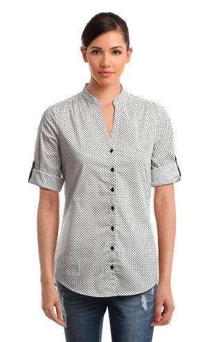 Tailored Buttoned Up Sleeve Women Shirt