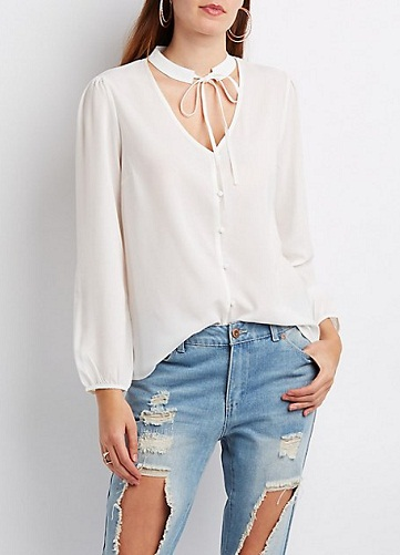 Tie Neck Button Up Shirts for Woman