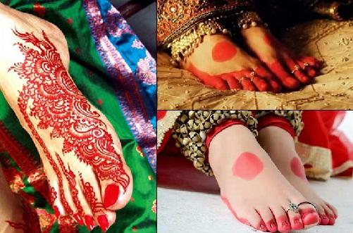 Traditional Bengali Mehndi Design for Feet's