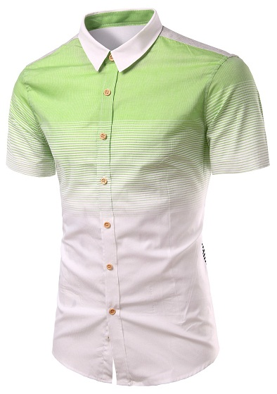 Turn Down Collar Green Short Sleeve Shirts for Me