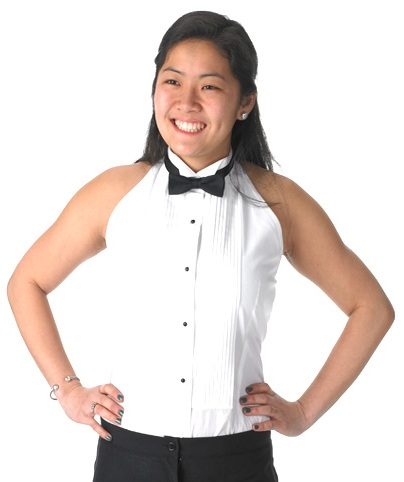 Tuxedo shirt in halter style