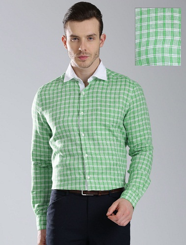 White Collar Men Green Shirts