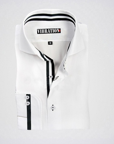 White Designer Shirt with Contrast Strips