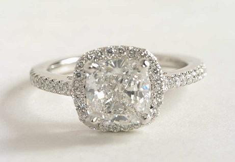 White Gold Cushion cut engagement ring