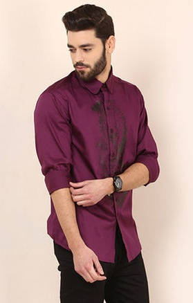 Wine Party Style Cotton Shirt