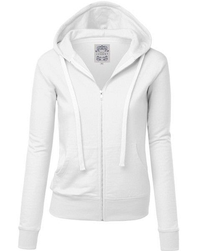 Women's Zipped white Sweatshirt