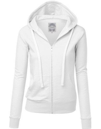 Women's Zipped white Sweatshirt