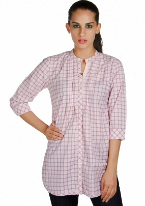 Women's long chequered shirt