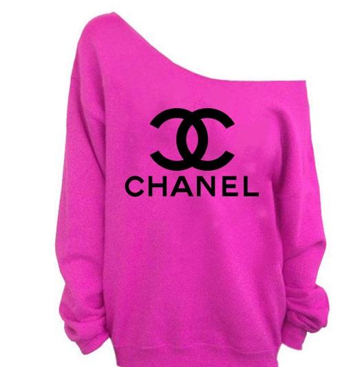 Women's off shoulder hot pink sweatshirt
