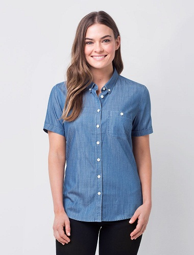 Women Button down Short Sleeves Denim Shirts