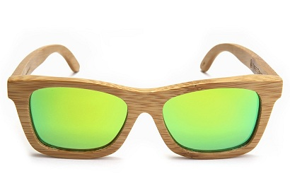 Wooden Frame Green Mirrored Sunglasses for Boys