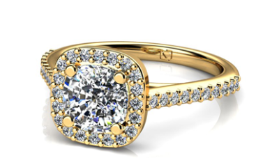 Yellow Gold Cushion Cut Engagement Ring