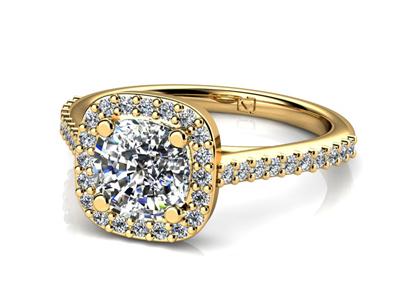 Yellow Gold Cushion Cut Engagement Ring