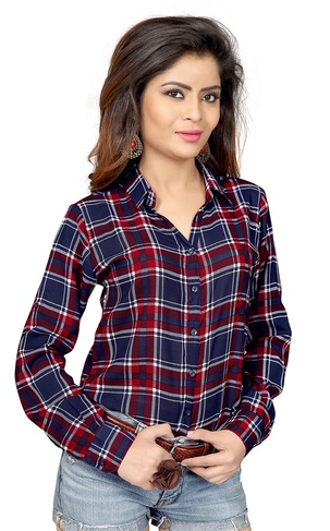 checked navy blue shirt forb women