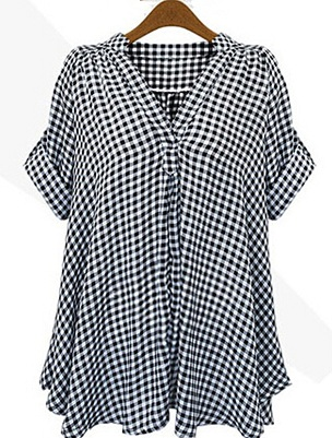 chess striped half women shirt