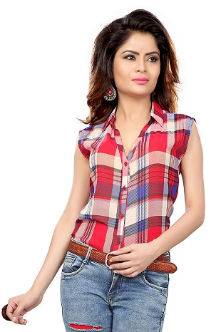 red and beige sleeveless women shirt