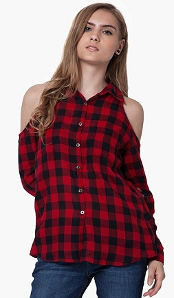 red and black shoulder cropped women'sshirt