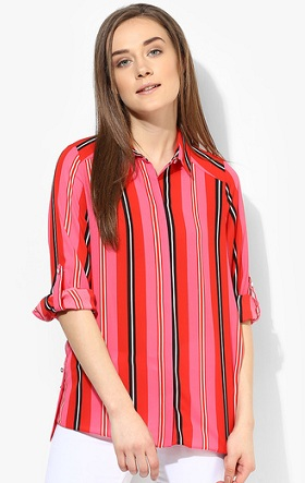 red and black striped shirt for women