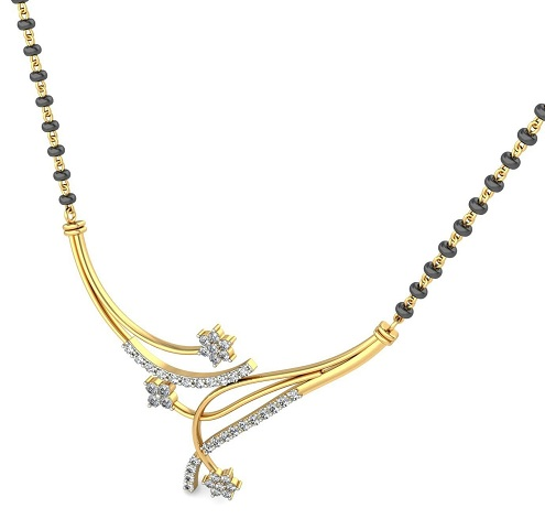 1 Gram Gold Mangalsutra with Diamond Pendant