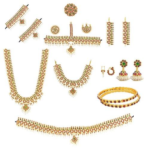 10 piece Bharatanatyam Temple Jewellery