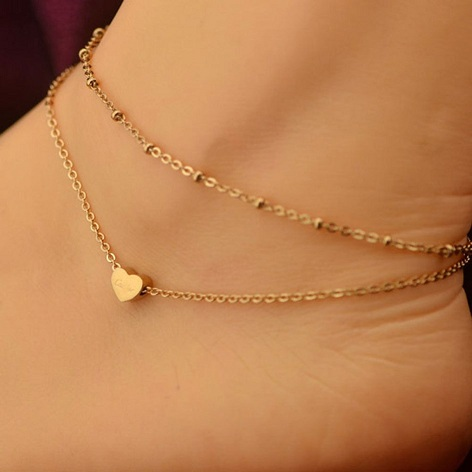 2 Layers Sexy Chain Gold Plated Anklet with Heart