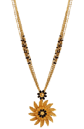 22k Gold Mangalsutra with Sunflower Pendant