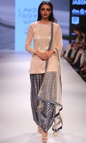 Afghani Type Silver Salwar Suit