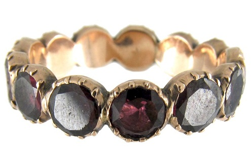 Almandine garnet gemstone ring