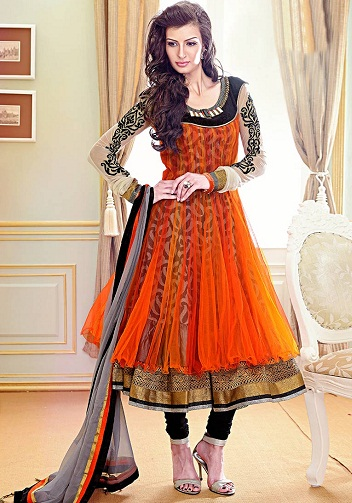 Anarkali style orange salwar suit
