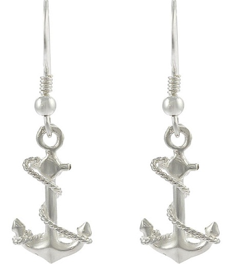 Anchor design dangle earrings