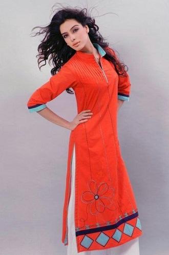 Angrakha style designorange salwar suit
