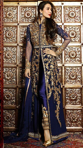 Ankle Length Salwar Kameez with Embroidered Pant